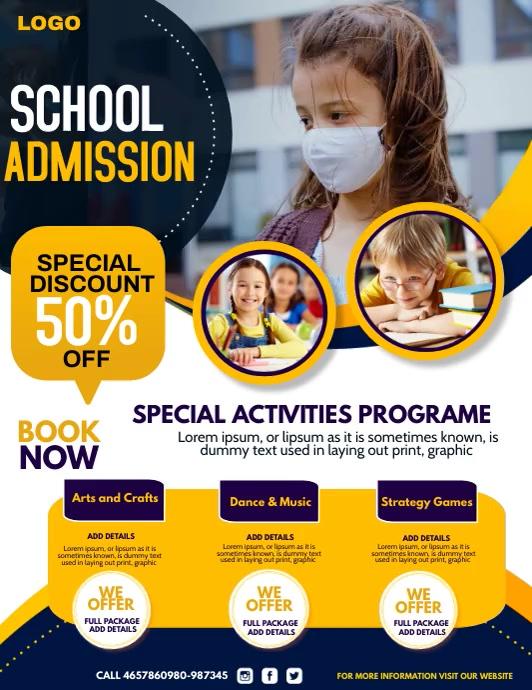 school admission,kids camp 传单(美国信函) template