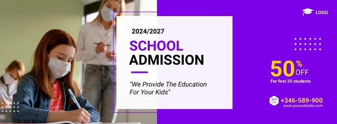 school admission Facebook-omslagfoto template