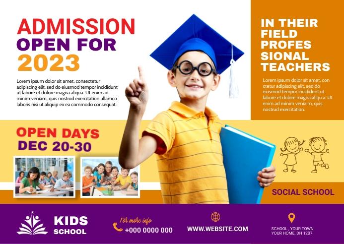 School admission Digital post Briefkaart template