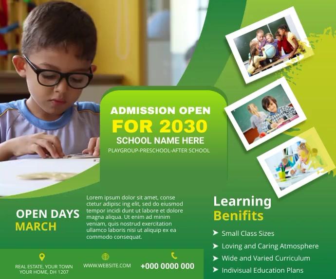 School admission Digital post Middelgrote rechthoek template