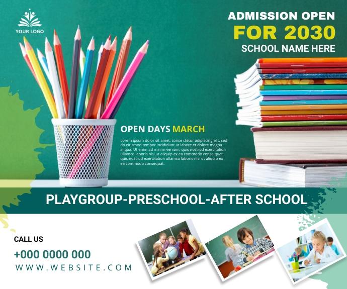 School admission Digital post 中型广告 template