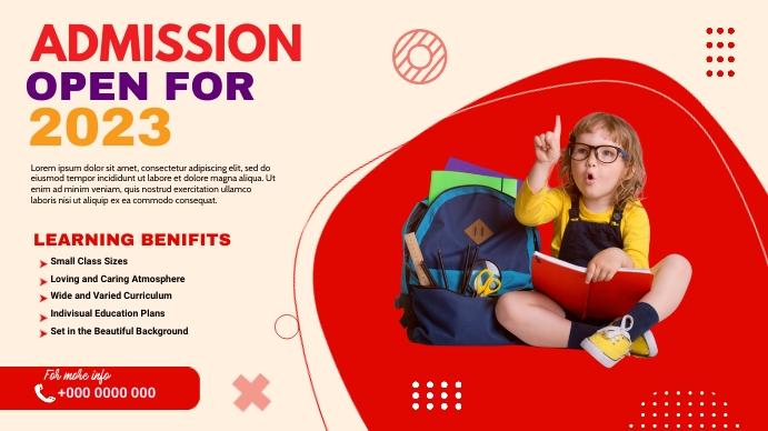 School admission Digital post Digitale display (16:9) template