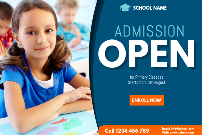 school admission flyer template Spanduk 4' × 6'
