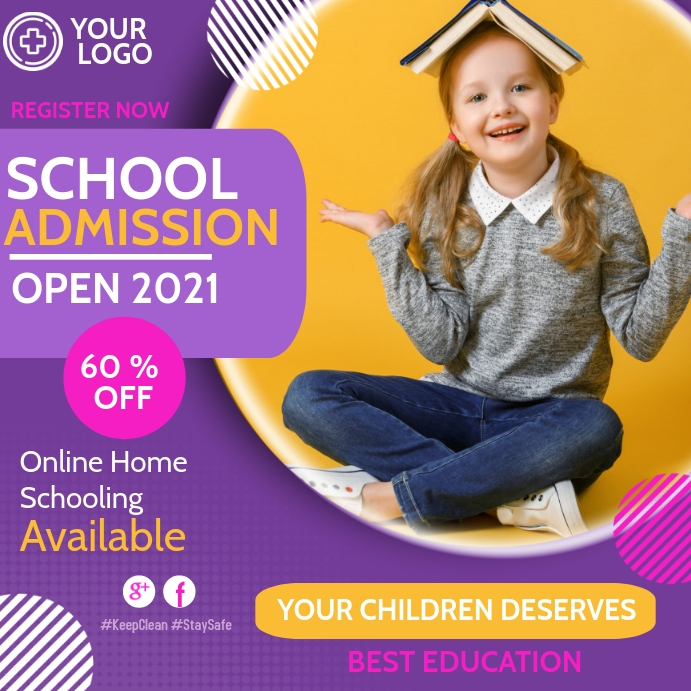 School admission open,Back to school Instagram Post template