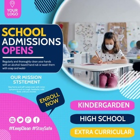 School admission open,School templates Instagram-opslag