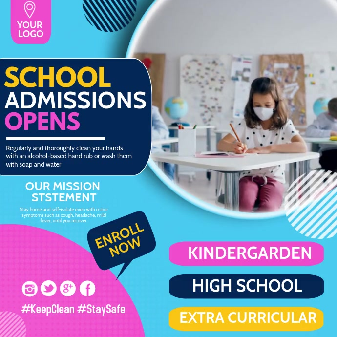 School admission open,School templates Instagram-opslag