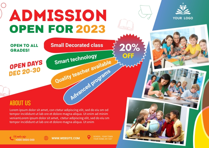 School admission postcard Briefkaart template
