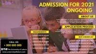 School Admission poster Видеообложка профиля Facebook (16:9) template