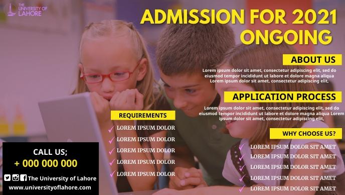 School Admission poster Facebook 封面视频 (16:9) template