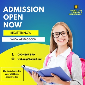 SCHOOL ADMISSIONS FLYER Message Instagram template