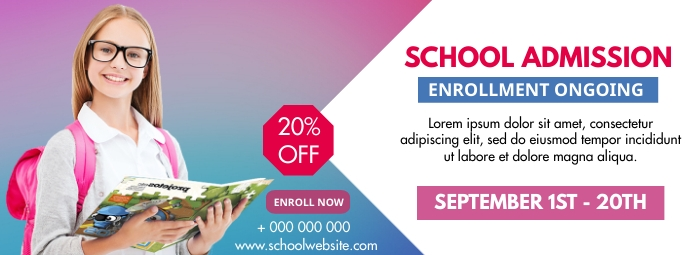 School admissions poster Facebook-omslagfoto template