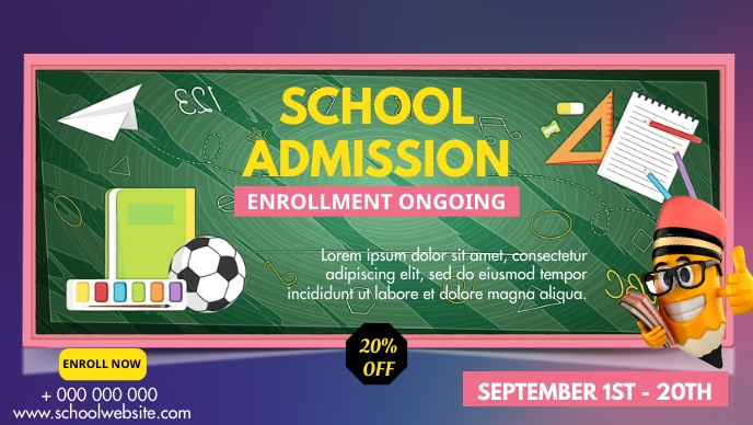 School Admissions poster Facebook 封面视频 (16:9) template