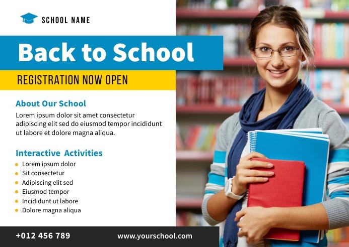 School Admisson Banner Design Briefkaart template