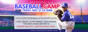 School Baseball Camp Banner Design Facebook Cover Photo template