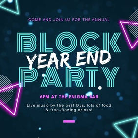 School Block Party Instagram Invite Carré (1:1) template