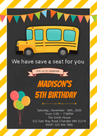 School bus birthday invitation