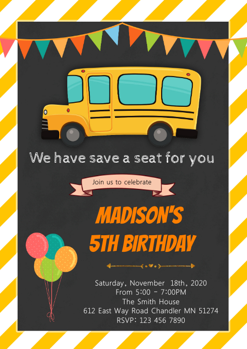 School bus birthday invitation A6 template