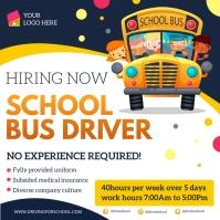 School bus driver hiring ad Instagram Post template