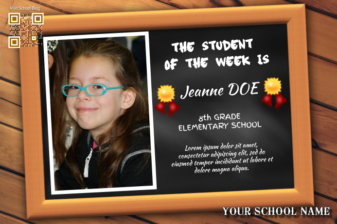 school and classroom poster student of the week