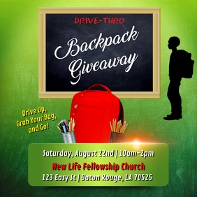 SCHOOL DRIVE-THRU BACKPACK GIVEAWAY FLYER Instagram Post template