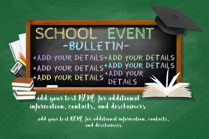 School Event Educational Children Bulletin Chalk Board Class