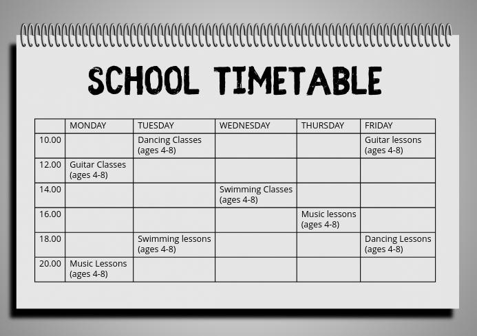 School Hobby Timetable Schedule Template