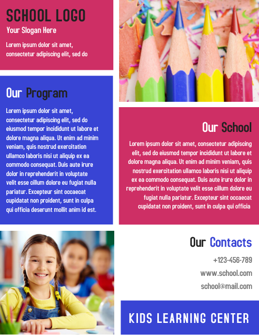 SCHOOL KIDS LEARNING CENTER TEMPLATE DESIGN