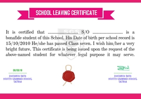 SCHOOL LEAVING CERTIFICATE A4 template