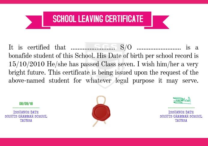 School Leaving Certificate Template Postermywall