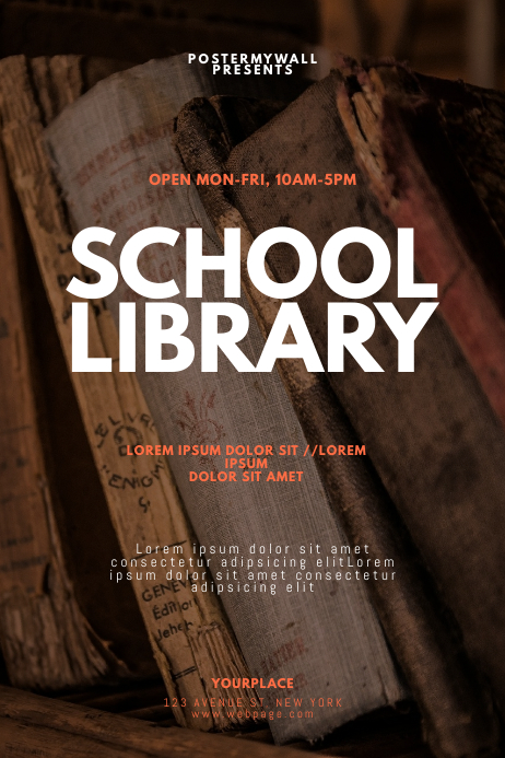 School Library Flyer Design Template