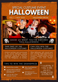 School Magazine Halloween Newsletter A4 template