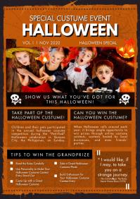 School Magazine Halloween Newsletter A4 template