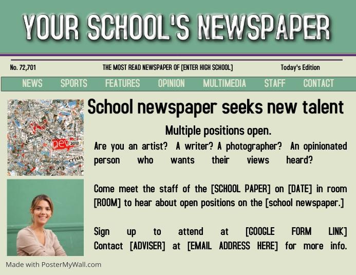 School Newspaper Flyer Divingexperience