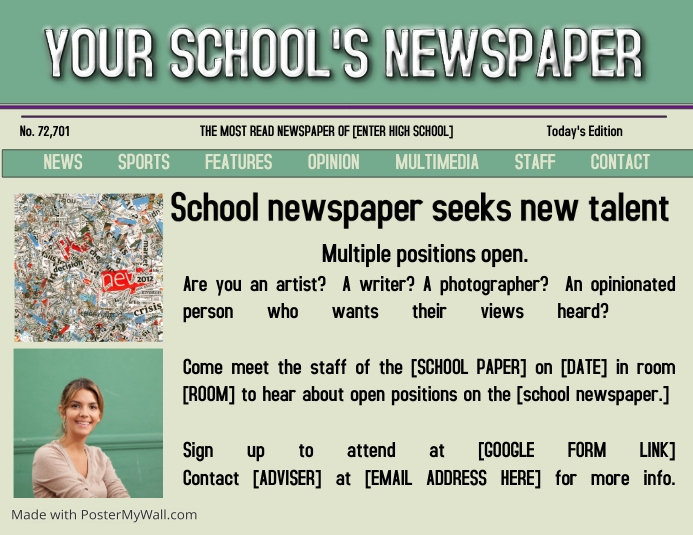 school newspaper recruitment template postermywall