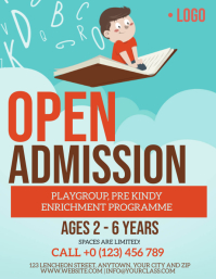 SCHOOL OPEN ADMISSION FLYER Design Template Рекламная листовка (US Letter)