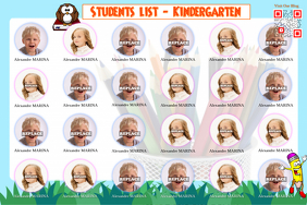 School poster template on PosterMyWall - Beautiful student list (Theme: kids and kindergarten)