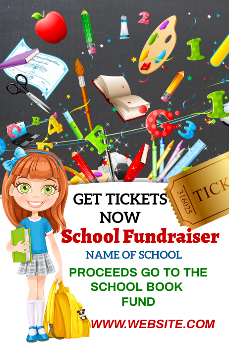 school raffle fundraiser template postermywall