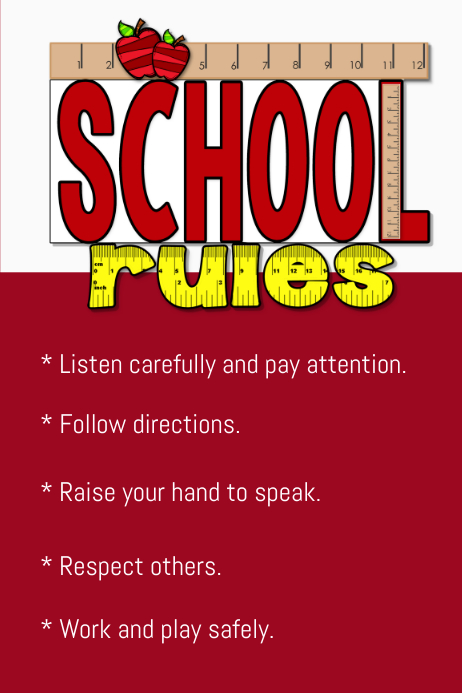 School Rules Template Postermywall