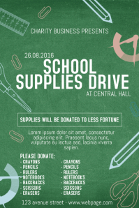 School Supplies Drive Charity Event Poster Template