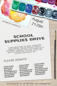 School Supplies Drive Donate Charity Event Poster Template
