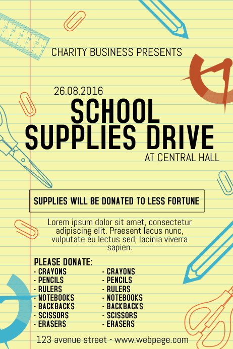 School Supplies Drive Poster Template