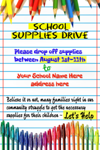 School Supplies Drive Poster Template