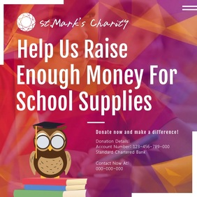 School Supplies Drive Square Video template