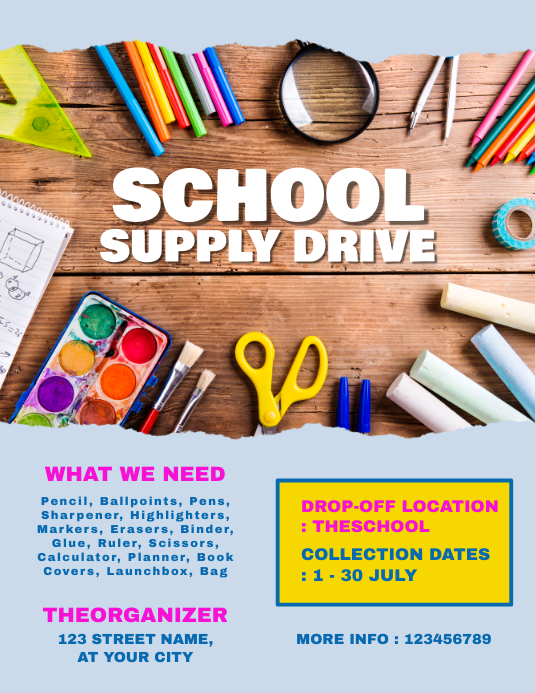 School Supply Drive Pamflet (Letter AS) template