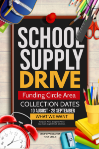 School supply drive Poster template