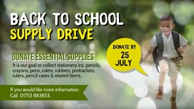 School Supply Drive Facebook Cover Video template