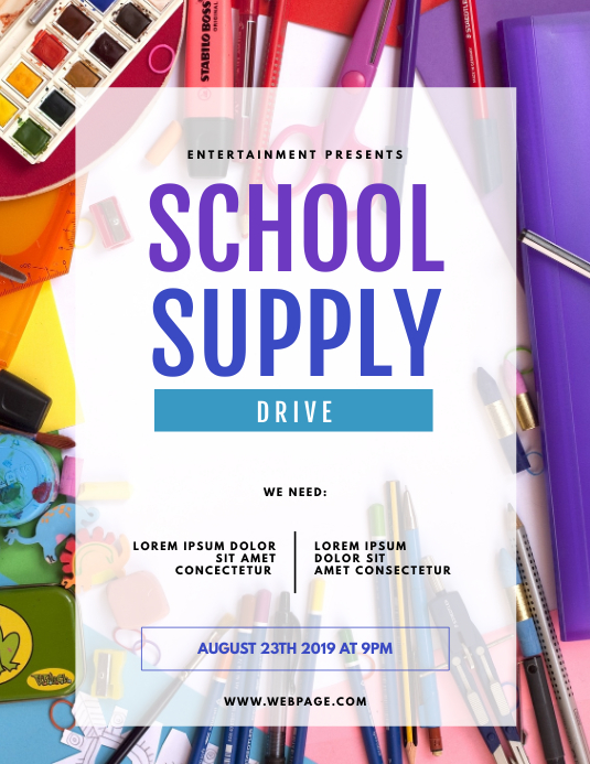 School Supply Drive Flyer Template Pamflet (Letter AS)