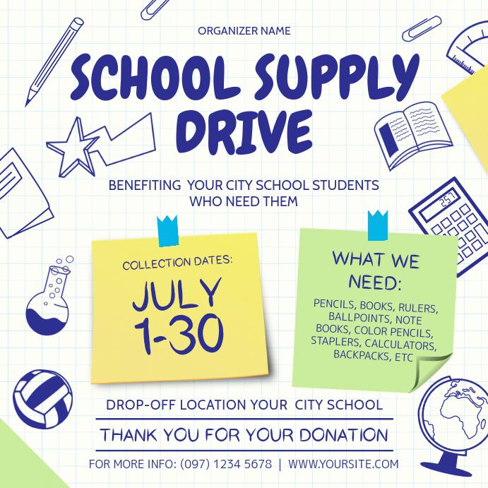 School Supply Drive Instagram Image