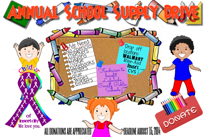 School Supply Event Children Flyer Poster template