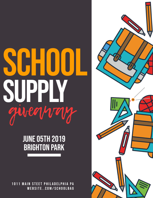 School Supply Giveaway Pamflet (Letter AS) template